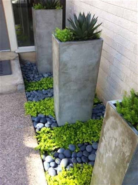 Ideas Design For Cement Planters Concept 25 Best Ideas About River Rock Landscaping On Pinterest Rock Flower Beds Pool Landscaping