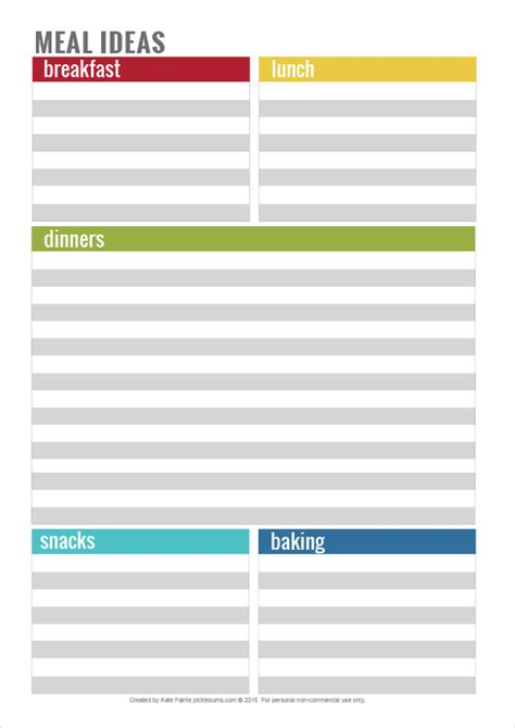 printable grocery list with meals simple home organisation printables picklebums