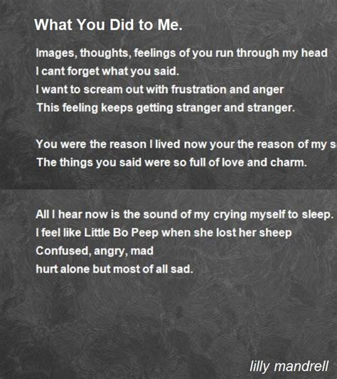 diction poem by lilly mandrell poem what you did to me poem by lilly mandrell poem My A