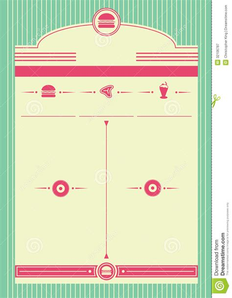 50s diner menu template 1950s diner style background and frame royalty free stock