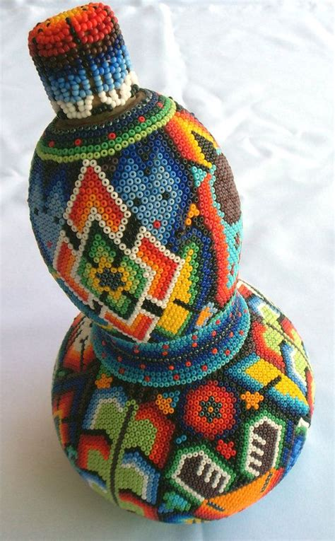 mexican beading mexican huichol beaded sacred gourd bottle calabash by