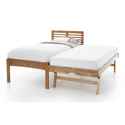 Wood Trundle Bed Frame Esther Guest Bed Frame With Pull Out Trundle Hevea Wood Single Ebay