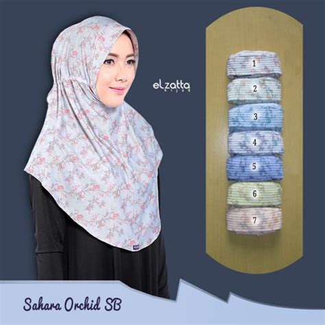 Hijabjilbab Renda Tali Belakang jilbab bergo corak motif tali serut belakang elzatta orchid sb elzatta jual