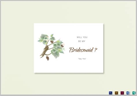 Will You Be My Bridesmaid Card Template by 19 Bridesmaid Cards Editable Psd Ai Indesign Format