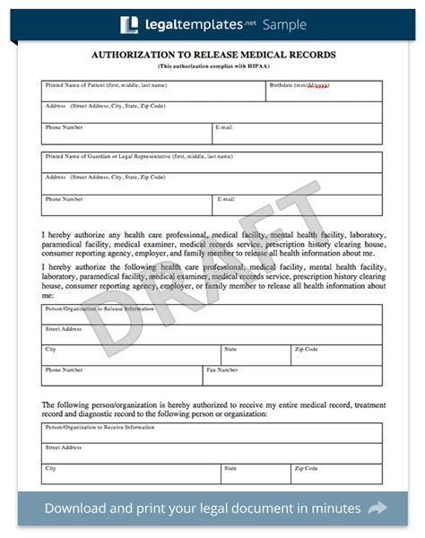 patient records release form template ciij