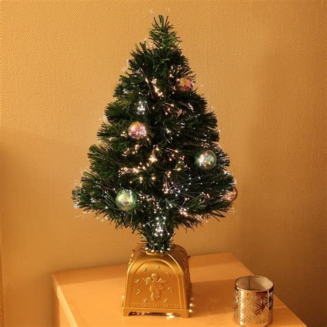 2ft artificial fibre optic table top tree qith bauble decorations