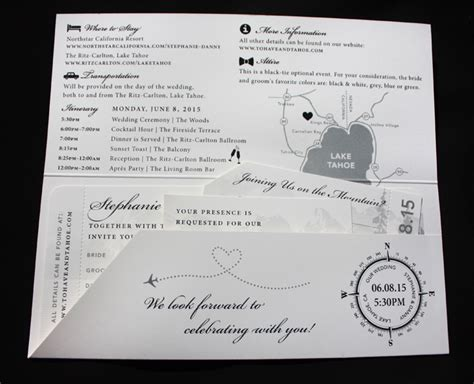 Wedding Invitations Lake Theme by Black White Lake Tahoe Travel Themed Airline Ticket