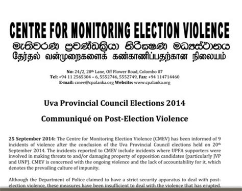 election violence in sri lanka centre for monitoring len www lankaenews com