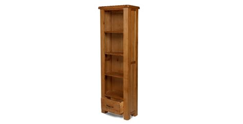 Slim Bookshelf Emsworth Oak Slim Bookcase With Drawer Lifestyle