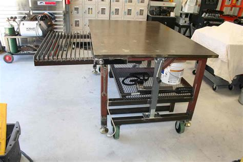 diy welded table legs retractable wheels needs telescoping legs to set at different heights with levelers for