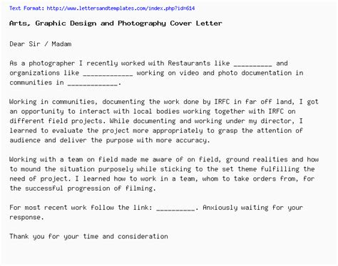 arts graphic design photography cover letter job