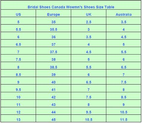 shoe size chart by height bridal shoes canada shoes size chart heel height width