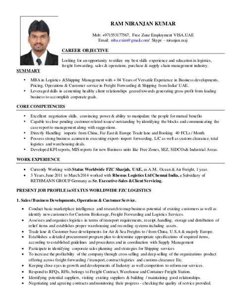 Resume Format For Mba Logistics Resume R Niranjan Kumar Mba Logistics Shipping Mgmt