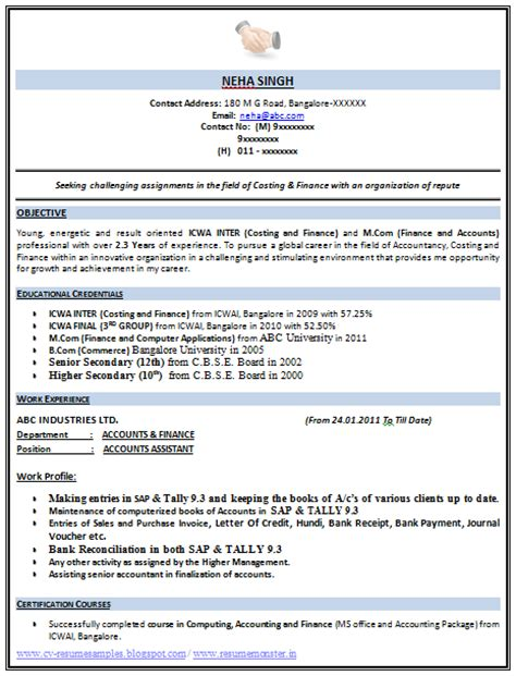 2 page resume format pdf 10000 cv and resume sles with free icwa resume format