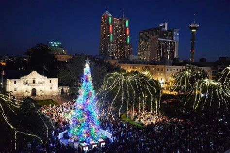 tree lighting san antonio warm and bright start to the season in s a san