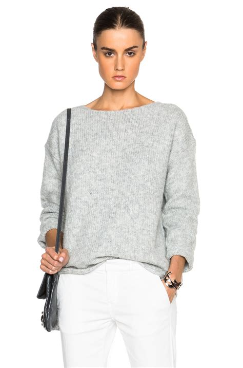 lyst nili lotan ballet neck boxy sweater in gray