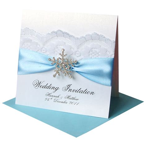 blue wedding invitations winter wedding invitations snowflake made