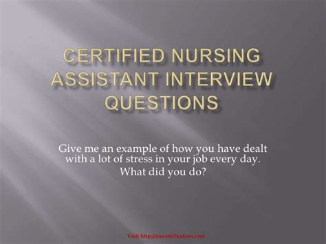 certified nursing assistant questions