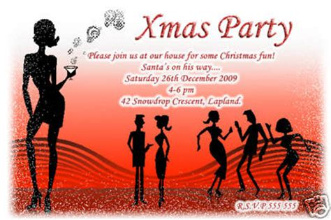 10 Personalised Christmas Xmas Party Invitations No8