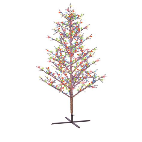 ge 8 ft pre lit winterberry brown artificial christmas