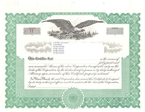 printable stock certificate template stock certificates blank free printable documents