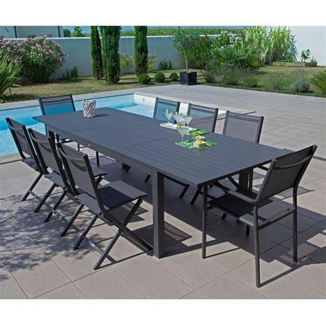 tables de jardins table de jardin trieste aluminium l200 280 l103 cm gris