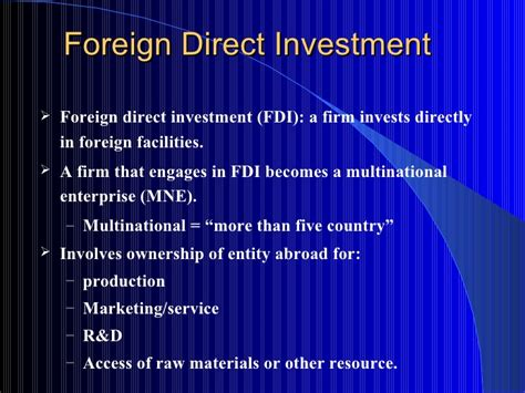 Foreign Direct Investment Mba Notes by Fdi In Different Type Of Economy