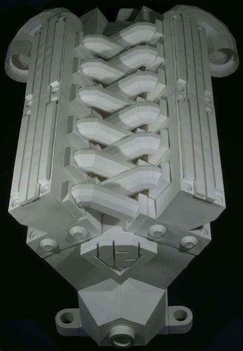 Origami Engine - amazing origami v 12 four stroke engine runs on