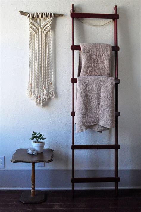 white macrame wall hanging  driftwood yarn banner