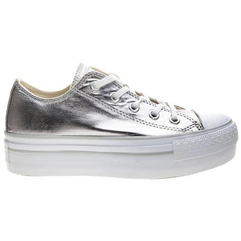 converse silver sneakers sneakers converse all platform chuck metallic