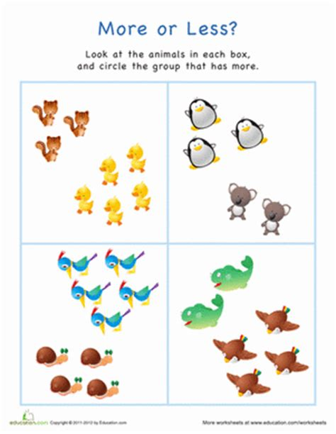 more or less worksheets more or less animals worksheet education