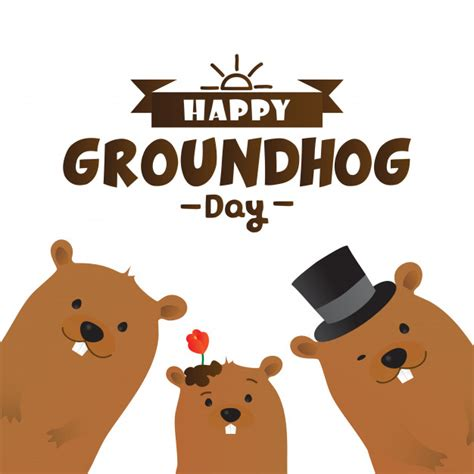 groundhog day characters happy groundhog day typographic design with marmot