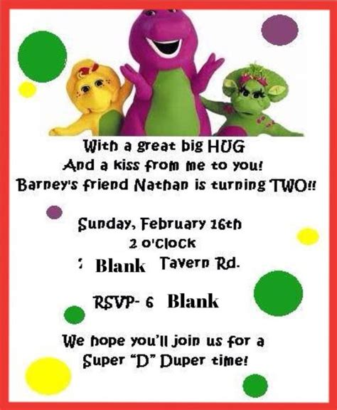 barney invitation template 17 best images about barney on friend birthday