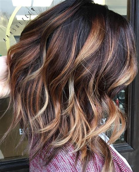 balayage dark brown hair with blonde highlights dark brown with caramel and blonde balayage the mane