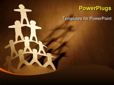 team powerpoint templates free human team pyramid on brown background powerpoint template