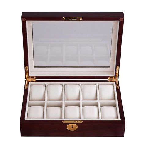 wood and glass display 10 slot watch display case wood top glass jewelry storage
