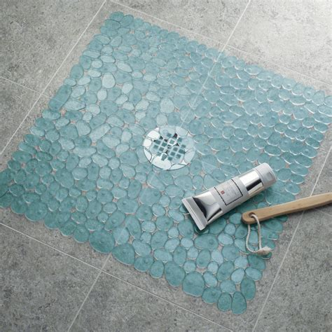 mojolondon pebble shower mat blue