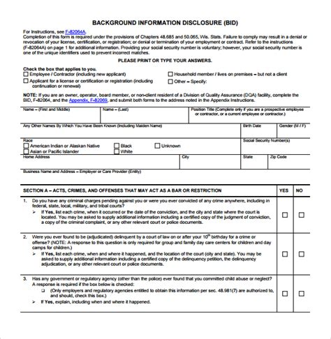 Fbi Gov Background Check Background Check Form 7 Free Documents In Pdf Word