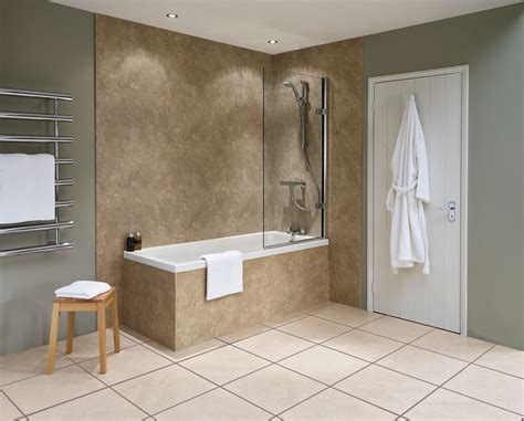bathroom with paneling travertine nuance bathroom wall panel