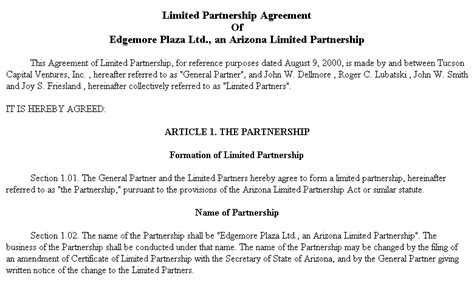 exle document for limited partnership agreement