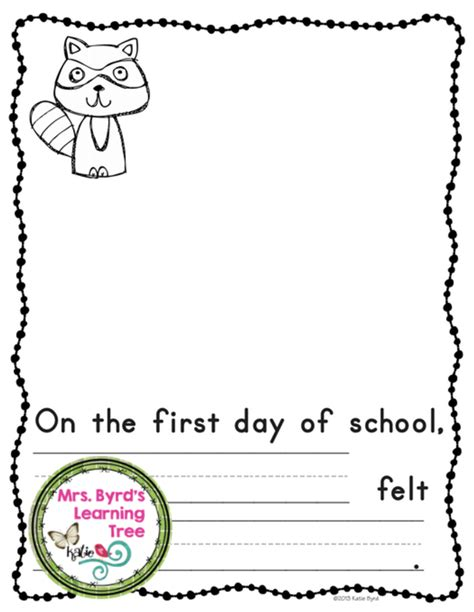 printable version of the kissing hand first day worksheets for kindergarten first day of