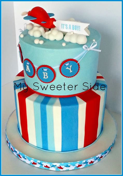 Fondant Baby Shower Cake by Airplane Baby Shower Cake Cakecentral
