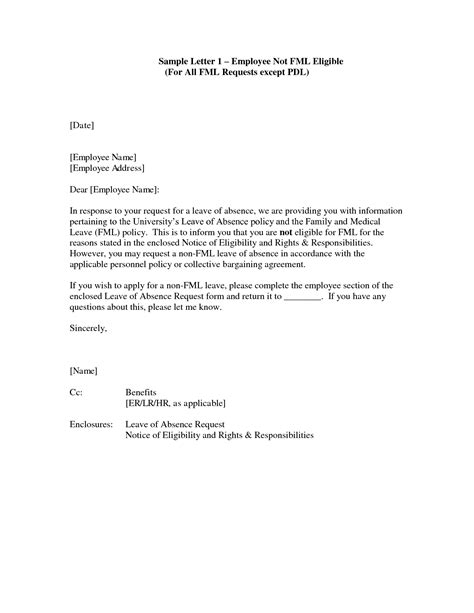 Leave Of Absence Letter Sle For Employer Fmla Approval Letter Articleezinedirectory