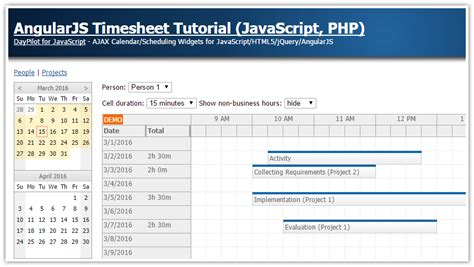 tutorial java angularjs angularjs timesheet tutorial javascript php daypilot code