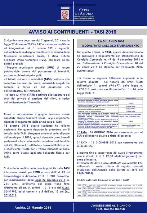 ufficio tributi andria tributi imu e tasi 2016 comune di andria
