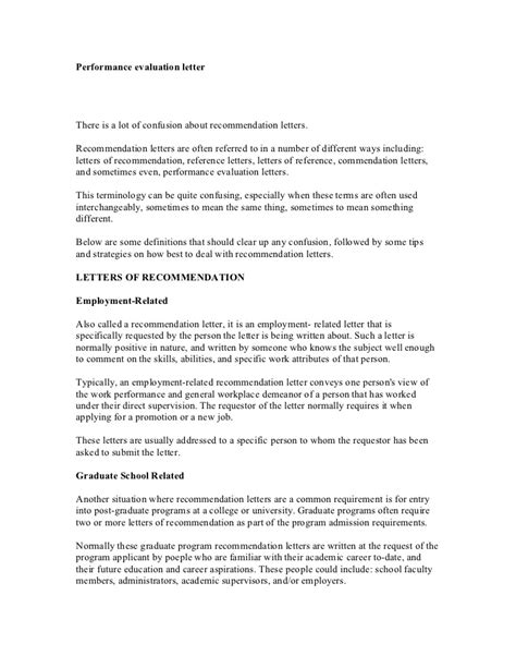 Evaluation Letter Of Recommendation Performance Evaluation Letter