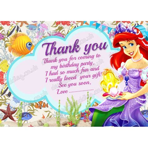 printable little mermaid thank you cards printable disney princess ariel little mermaid thank you card