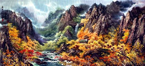 A Frame House Pictures North Korean Mountain Landscape Painting Landscapes Of