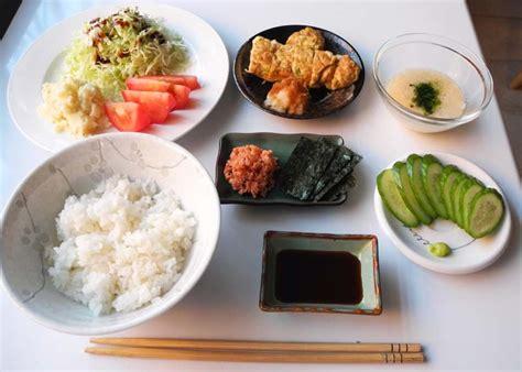 asian dinner simple japanese dinner from left top shredded cabbage