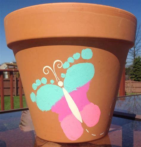 flower pot kid craft butterfly footprint flower pot craft baby mothers